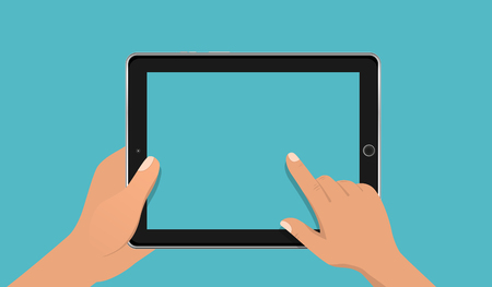 Hand touching blank screen of tablet computer. Using digital tablet pc, flat design concept. Eps 10 vector illustration Illustration
