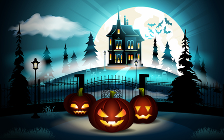 Halloween pumpkins in graveyard and dark castle on blue Moon background, illustration. Illustration