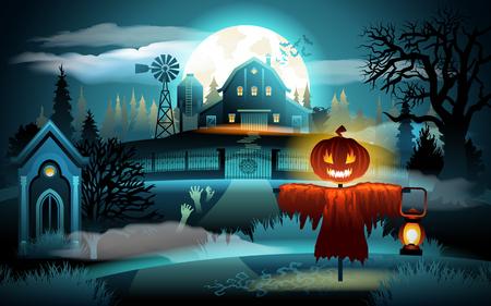 Spaventoso vecchio cimitero e casa colonica sulla luce della luna blu - sfondo di Halloween. Spaventapasseri con testa di zucca