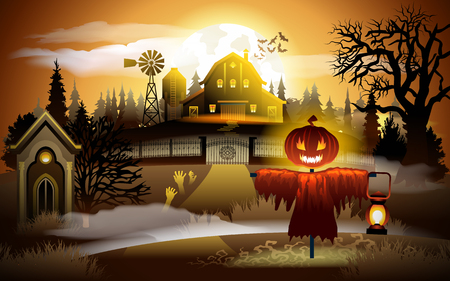 Scary old graveyard and farm at sunset - Halloween background.