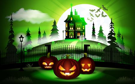 Halloween pumpkins and dark castle on green Moon background, illustration. Illustration