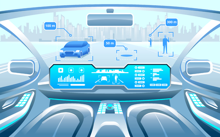 Autonomous Smart car interior. car self driving in the city on the highway. Display shows information about the vehicle is moving, GPS, travel time, scan distance Assistance app. Future concept. 版權商用圖片 - 90083736