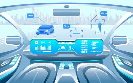Interior de carro inteligente autônomo. auto carro dirigindo na cidade na estrada. Display mostra informações sobre o veículo está se movendo, GPS, tempo de viagem, digitalização app Assistência distância. Conceito futuro. Ilustración de vector