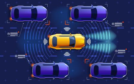 Autonome electro slimme auto rijdt in het verkeer op de weg. Scant de weg, observeert de afstand. Toekomstig concept.