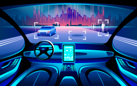 Autinomous smart car inerior. Self driving at night city landscape. Display shows information about the vehicle is moving, GPS, travel time, scan distance Assistance app. Future concept.