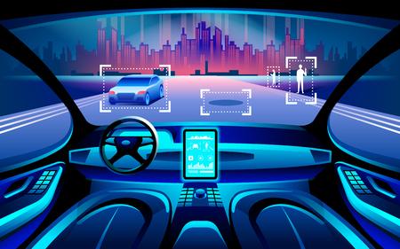 Autonomous smart car inerior. Auto conducción en el paisaje de la ciudad de noche. La pantalla muestra información sobre el movimiento del vehículo, el GPS, el tiempo de viaje, la distancia de escaneo, la aplicación de asistencia. Concepto futuro