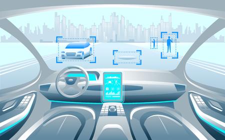 Autinomous slimme auto binnenerior. Zelf rijdend in het stadslandschap. Display toont informatie over het voertuig in beweging, GPS, reistijd, scanafstand Assistentie app. Toekomstig concept. Vector Illustratie