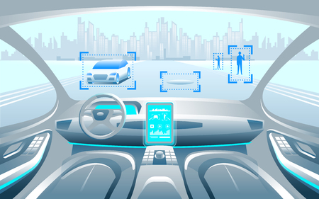 Autinomous smart car inerior. Self driving at city landscape. Display shows information about the vehicle is moving, GPS, travel time, scan distance Assistance app. Future concept. Vector Illustration