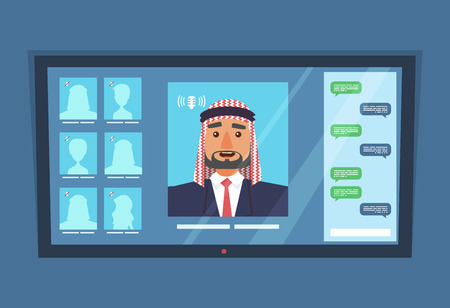 Online video conference with arab business man and chat.