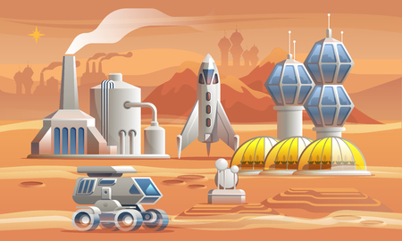 Human colonizators on Mars. Rover drives across the red planet near factory, greenhouse and spaceship