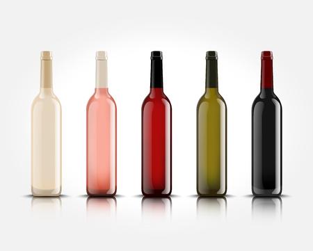 3d realistas botellas de vino aislados sin letras para su diseño y logotipos . maqueta para su producto