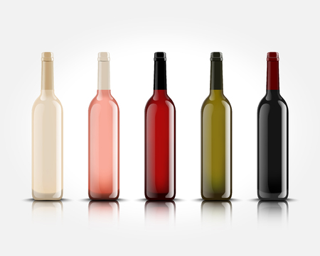 3d realistic vector isolated wine bottles without labels for your design and logo. Mockup for presentation of your product.
