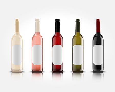 空ラベルのデザインとロゴの付いた白い背景の 3 d 現実的なベクトルのワインのボトル。お使いの製品のプレゼンテーションのためのモックアップ。  イラスト・ベクター素材