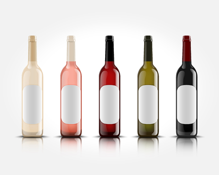 3d realistic vector wine bottles on white background with empty labels for your design and logo. Mockup for presentation of your product.