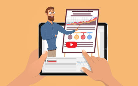 Hands holding tablet with hansome influencer business man. E Learning by the webinar training. Online education at Video blog concept. Vector Illustration. Illustration
