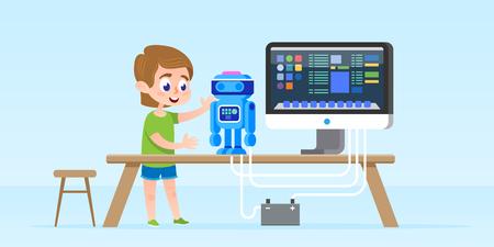 Weinig jongen die slimme robot creeert en programmeert. Stockfoto - 90080969