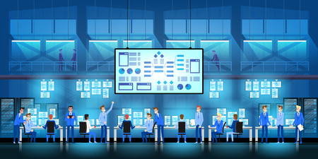IT engineers in big data center icon.