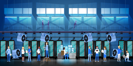 데이터 센터 룸 호스팅에서 암호화 광업 농장 디지털 암호화 통화 현대 웹 머니 벡터 일러스트 레이션