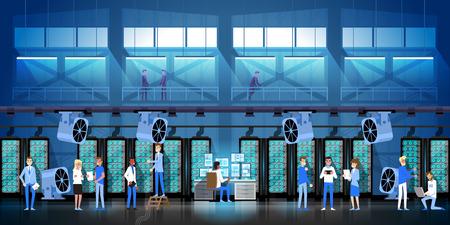 Crypto Mining Farm In Data Center Room Hosting Serve Digital Crypto Currency Modern Web Money Vector Illustration