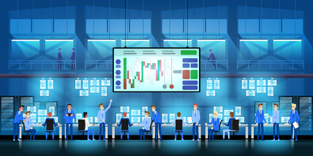 Business team work success concept. Online trading. Brokerage trading on the stock exchange vector in flat style design.