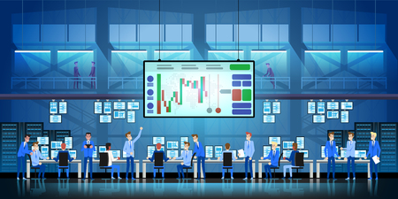 Business team work success concept.   Brokerage trading on the stock exchange vector in flat style design.  イラスト・ベクター素材