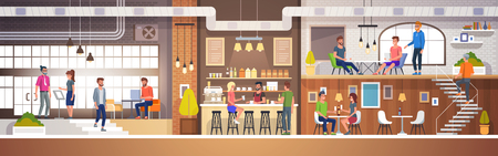Modern Cafe Interior in loft style. full of People. Restaurant Flat Vector Illustration