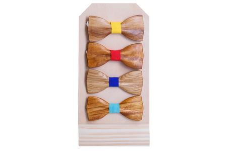 A set of stylish wooden men's ties for the holiday. Wooden ties for men under the classic suit for any occasion. A great gift to a man under his image. Colored wooden tie for a man on white background