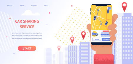 Banner Illustration Navigation Location Rental Car. Vector Image Hand Holding Mobile Phone, Screen Displaying Gps Data Car Parking Location. Use Mobile Car Sharing Service Application Vehicle Rental