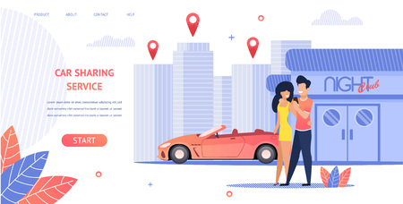 Banner Illustration Loving Couple Rent Cabrio Car. Vector Image Young Guy and Girl Coming Out Night Club Using Car Sharing Service Mobile App. Delivery Car to Location Client Anywhere in City