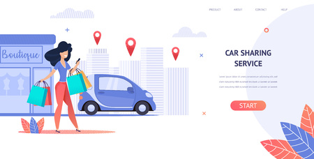 Illustration Rent a Car Using Mobile Application. Banner Vector Image Young Girl Enjoys Car Sharing Service. Car Rental Anywhere in City. Woman Hold Shopping Bag from Store. Beautiful Beauty Day