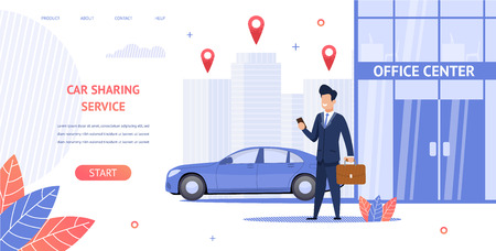 Banner Illustration Renting Car to Office Center. Vector Image Guy Businessman Trip Business Meeting with Partner Using Mobile app Car Sharing Service. Convenient Online Resource Choice and Car Rental