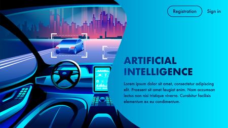 Artificial Intelligence Smart Safety Autonomous Car Cockpit. City Landscape View. Future Unmanned Automobile Driving Innovation Inside. AI Data System. Cartoon Auto Steering Interior.