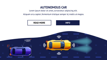 Autonomus Car Flat Cartoon Vector Illustration. Future City Transport with Safety Sensor GPS Radar System. Top View of Automobiles with Active Driver Assist Guard and Sensing Communication.