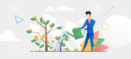 Flat Illustration Man in Suit Watering Money Tree. Vector Broker Fertilizes Soil for Rapid Profit Growth. Financial Investment Future. Money Growth Chart. Handful Gold Coin. Trader Play Stock Exchange