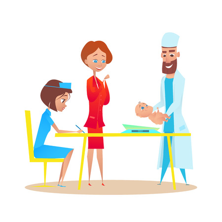 Pediatrician Doctor Weighing Newborn Baby Boy. Mother and Smiling Man Specialist with Child in Hospital Office Examination. Childcare Nurse and Healthy Neonate at Checkup. Flat Cartoon Illustration.