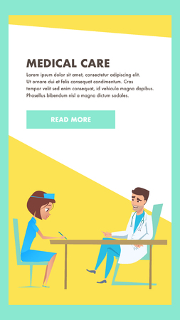 Medical Care Consult. Hospital Examination Banner. Professional Practitioner Doctor with Nurse. Medical Health Care Treatment Technology. Friendly Online Clinic Pediatrician Consultation.
