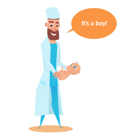 Newborn Boy in Obstetrician Doctor hands. Pediatrician Man with Healthy Infant Smiling. Little Kid Patient Cartoon Character In Childcare Clinic. Postpartum Healthcare Examination and Therapy. Illustration