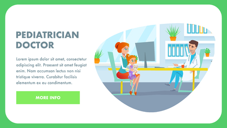 Pediatrician Doctor Office. Mom with Girl Kid in Pediatric Visit and Exam Waiting for Treatment. Hospital Room. Female Parent and Smiling Toddler Child Character Flat Cartoon Illustration. Illustration