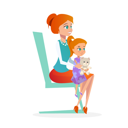 Mother with Daughter in Pediatrician Appointment. Cartoon Flat Illustration of Red Hair Mum Sitting on Chair in Doctor Office with Child Girl holding Cute Bear. Happy Beautiful Family.