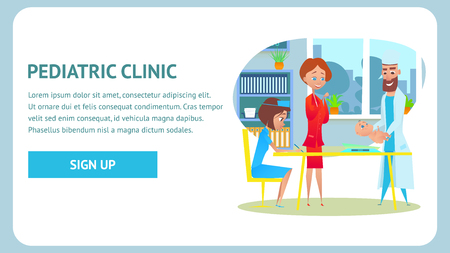 Pediatric Clinic Checkup Banner. Childcare Nurse and Healthy Neonate at Pediatric Examination. Flat Cartoon Illustration. Pediatrician Doctor Specialist in Hospital Office. Healthcare Diagnosis. Illustration