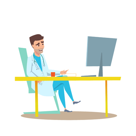 Man Doctor of Medicine with Stethoscope in Hospital Office Interior Waiting fo Patient on Consultation. Flat Cartoon Illustration of Cardiology Specialist in Online Checkup or Report.