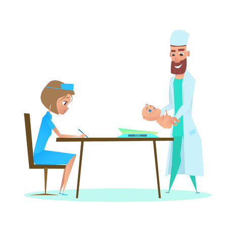 Pediatrician Doctor Weighing Infant in Childcare Clinic with Nurse. Flat Cartoon Illustration. Postpartum Neonate Examination with Pediatrician Man Specialist. Healthy Child Kid Checkup.