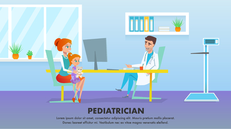 Pediatrician Medicine. Healthcare Vector Banner Cartoon Flat Illustration. Happy Mother with Red Head Child Girl Character in Hospital Pediatric Cabinet Waiting for Stethoscope Examination from Doc.