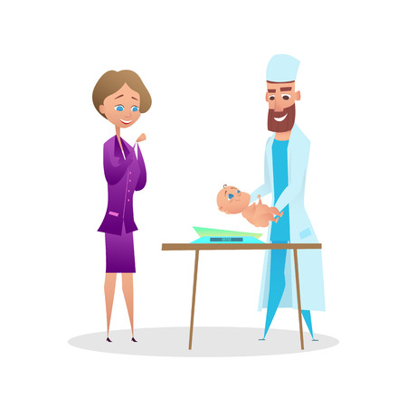 Pediatrician Doctor Measure Newborn Child Patient. Postpartum Baby Child Examination with Mom and Therapy Specialist. Weighing Checkup. Infant Boy in Childcare Clinic Office on Examination. Vector Illustration