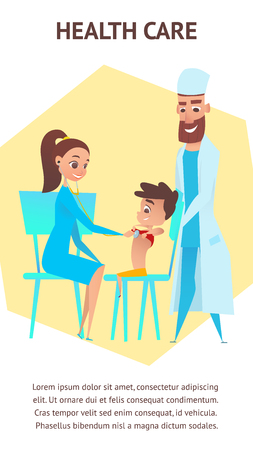 Health Care Illustration Banner. Pediatrician Preschool Children Examination. Doctor and Nurse with Stethoscope Checkup Boy Kid. Helthcare Diagnosis Examining. Vector Cartoon Characters. Vector Illustration