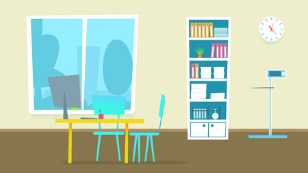 Medical Consultation Cabinet. Vector Illustration of Doctor Office Room in Hospital. Flat Design Interior Panorama with Furniture: Desk, Chairs, Monitor, Window. People Examination Diagnosis.