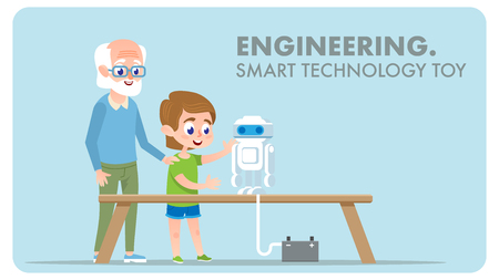 Engineering Smart Technology Toy Robot. Digital Innovation. Grandfather Character with Robotics Technology Education and Early Student Grandson Creating Invention Scientific School Project.