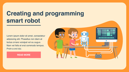 Creating and Programming Smart Robot. Flat Page. Multiracial Boys in Scientific Lab. Future Early Engineering Students Teamwork. Technology Acceleration Workshop. Social Media Digital Banner. Ilustração