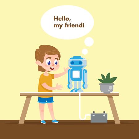 Bambino intelligente con modello di robot parlante. Cartone animato piatto. Ragazzo nella classe tecnica della scuola parla e gioca con l'elettronica robotica. Personaggio macchina alla scrivania. Hobby per costruire la comunicazione di intelligenza artificiale. Vettoriali