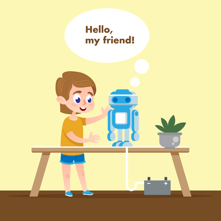 Smart Kid with Talking Robot Model. Flat Cartoon. Boy in School Tech Class Talk and Play with Robotics Electronics. Machine Character at Desk. Hobbies to Build Artificial Intelligence Communication.